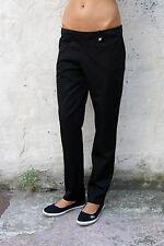 TRUSSARDI LADIES Shiny Black Denim Stretch Jeans 80s Quality Straight Sz 48 Uk12