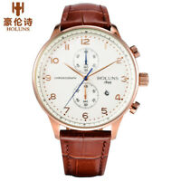 HOLUNS Calendar Genuine Leather Band 50m Water Resistant Men Quartz Wrist Watch