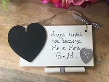 Personalised  Engagement gift Mr & Mrs chalkboard heart plaque sign