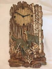 Vintage Rustic Wooden Log Wolf Wall Clock Cabin Art Decor Wild Trees Coyote Wood
