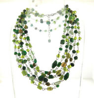 """Vintage Green Glass Bead Link Triple Strand Necklace 32"""""""