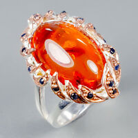 Handmade Natural Amber 925 Sterling Silver Ring Size 8/R125330