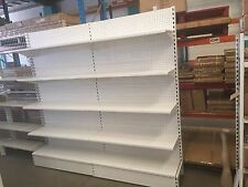 2 x White Retail Shelving Gondola Bays- Single Sided- 2200Hx1200Wx400D- 5 levels