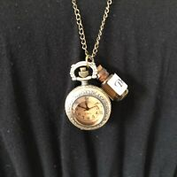 Gold Tone Vintage Style Necklace & Pendant Pocket Fob Watch Alice In Wonderland