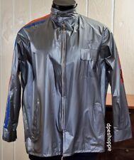 Hollywood Park Horse Racing Silver Full Zip Rain PVC Coat Jacket Sz L 42/44