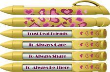 Greeting Pen Friend Pen- Yellow Hearts Rotating Message 6 Pen Set 36510