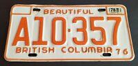 British Columbia License Plate A10-357 1976 Farm Truck Plate