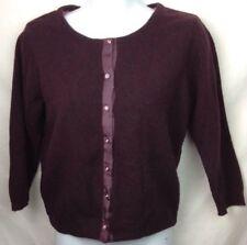 Free People Cardigan Sweater Medium Womens Lace Line Wool Angora Jewel Btns Plum