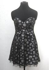 Short Miss Selfridge black silver circles strapless flare dress size 10