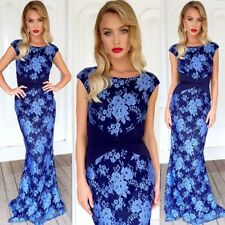 Size 12 Maxi Dress Blue NEW  Engagement Gown Wedding Formal Ball Lace Party Wear