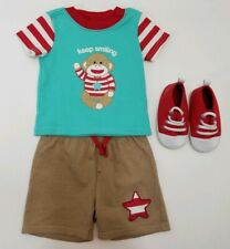 Sock Monkey Baby Starters 3 Piece Infant Outfit Size 9M Teal Brown Red Shoes NEW