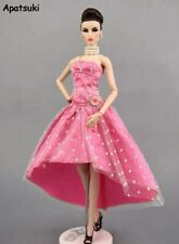 Pink Dotted Polka Party Dress For Barbie Doll Clothes High Quality Evening Gown