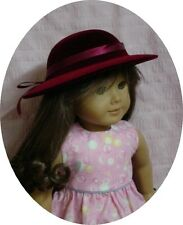 "Burgundy Velvet Brim DOLL HAT w/ Ribbon Trim fits 18"" AMERICAN GIRL Doll Clothes"