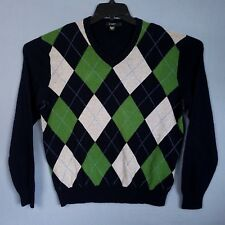 J.Crew Mens L Blue Green Argyle Long Sleeve V Neck Cotton Cashmere Blend Sweater