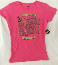 "NEW Pink Halloween T-Shirt ""This Is My Awesome Grandma Costume"" Women Small"