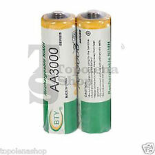 2 BATTERIE PILE STILO RICARICABILI AA 3000mAh BTY NI-MH 1.2VOLT