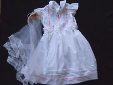 Vintage Hand Made First 1sr Communion dress & Veil size 6 / 8 ??? / 1980's