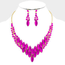 Fuchsia Marquise Cloudy Oval Stone Crystal Accents Statement Necklace Set