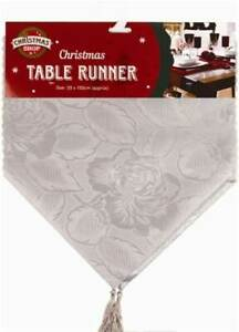 Gold/Silver Christmas Table Runner Floral Home Decorations Xmas Holiday Placemat