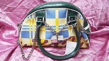 """Designer Logo Metal Chain Diamonte Dice Canvas Fashion 11x7"""" Bowling Grab Bag"""
