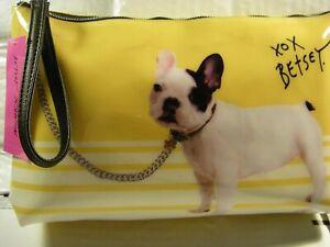 Betsey Johnson Reverse Print Wristlet French Bull Dog Frenchie Large Size SEALED