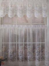 Vintage Painted Lace Jacquard Lace Curtain Tier Drape Valance Set New