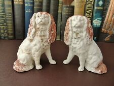 Late 19th c Bisque Porcelain, A Pair Of Victorian Spaniel Figurines