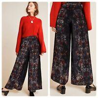 Anthropologie Kachel Women's Size 4 Velvet Burnout Wide Leg Print Pants New