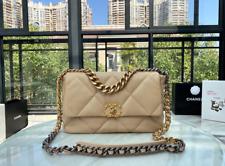 CHANEL Double Flap Chain Shoulder Bag Beige Leather Vintag