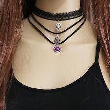 Handmade 3Pcs Vintage Silver Necklace Mode Lace Maxi Choker Necklace Women