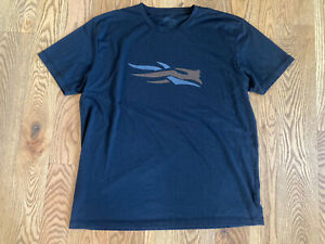 Sitka Logo Tee Shirt Short Sleeve Black XL Hunt Hike Fish EUC
