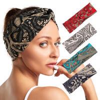 Boho Print Headband Cross Knot Wide Elastic Hairband Sport Yoga Turban Headwrap