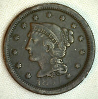 1854 Braided Hair Large Cent Copper Type Coin One Cent US Penny Fine