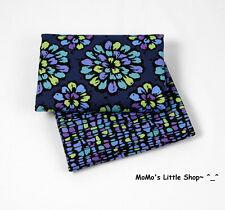 Beautiful Vera Bradley 100% Cotton Fabric(Indigo Pop) —— 2 Matching Fat Quarters