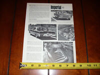 1966 CHRYSLER IMPERIAL - ORIGINAL VINTAGE ARTICLE