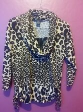Leopard lace Cowl Neck top blouse Black side ties Robert Loius S 3/4 sleeve