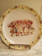 "Vintage Christmas Shabby Chic Decorative Plate rhinestones 8.5"" children pastels"
