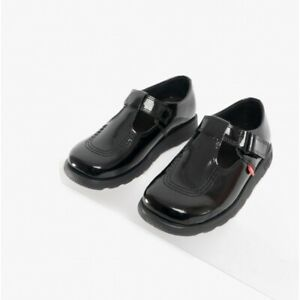 Kickers FRAGMA T-BAR Girls Leather Cushioned Touch Fasten School Shoes Black