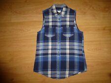 Women's Abercrombie&Fitch Multi Tartan Sleeveless Cotton Flannel Shirt Top XS 6
