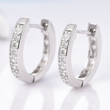 Slim Huggie Ring Silver Gold Filled Crystal Sapphire Women Lady Hoop Earrings