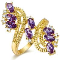 AMAZING Beautiful Cut Purple / Red SILVER RING SIZE 6-7-8-9 Multi Stone Ring