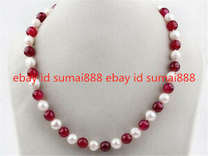 """7-8mm White Freshwater Pearl and Red 8mm Ruby Round Beads Necklace 18"""""""
