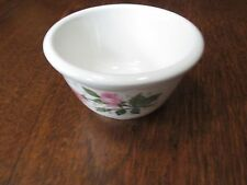 """VINTAGE BUFFALO POTTERY CHINA PINK ROSE GROUPS PATTERN 4"""" DIAMETER LUNE SOUP CUP"""