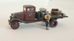 Truck Flatbed Loaded Man Lean Red HO Scale HO-Machinery-Master 1/87 BUILT