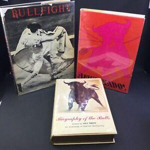 3 VINTAGE BOOKS: BIOGRAPHY OF THE BULLS, AFICIONADO!, BULLFIGHT