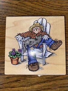 "Stampendous Wooden Rubber Stamp Fall Scarecrow Restin' cat autumn Season 4"""