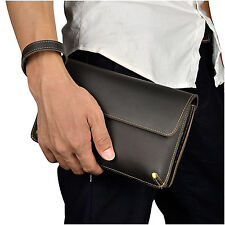 Men Real Leather Wrist Clutch Handbag Organizer Checkbook Large Briefcase Wallet