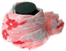 Large Boho Coral Pink Printed Floral Sarong Shawl Dupatta Scarf Hijaab Headscarf
