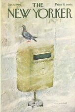 1966 Laura Jean Allen ART COVER ONLY -Pigeon on Vintage MailBox in Snow storm