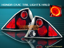 Fit For 01-03 HONDA CIVIC TAIL LIGHTS BLACK HALO 2D 02 LAMPS
